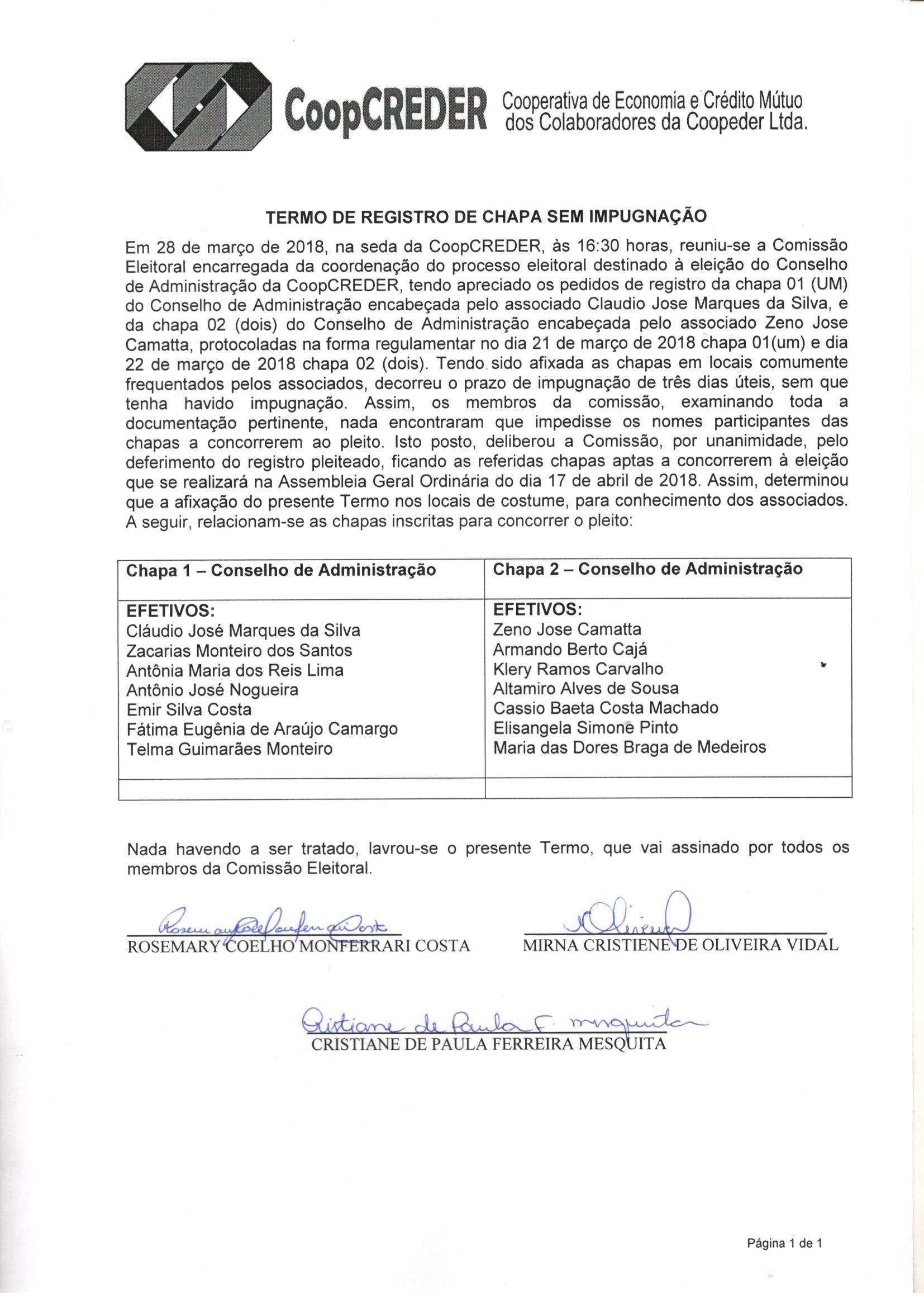 Termo Registro de Chapa sem impugnação