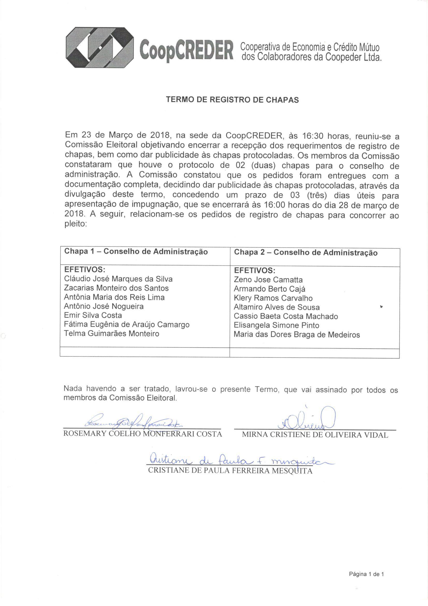 Termo de Registro de Chapa